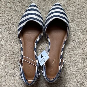 Blue and ivory striped sandals